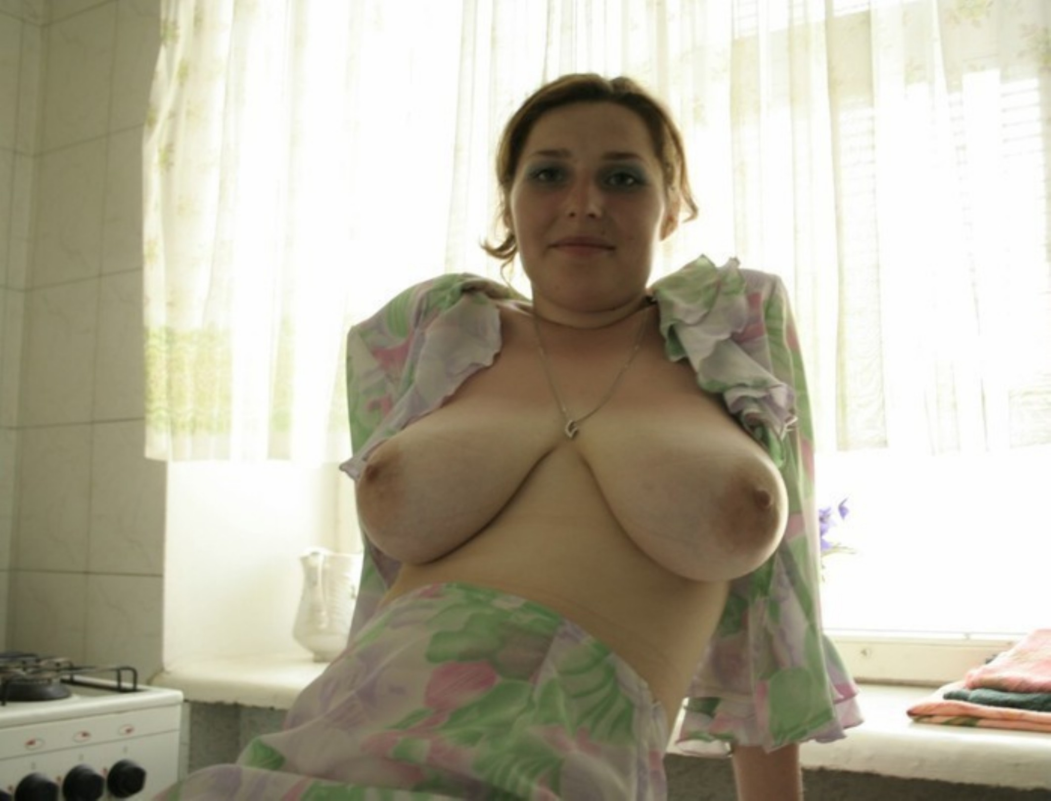 Huge natural tits on skinny body