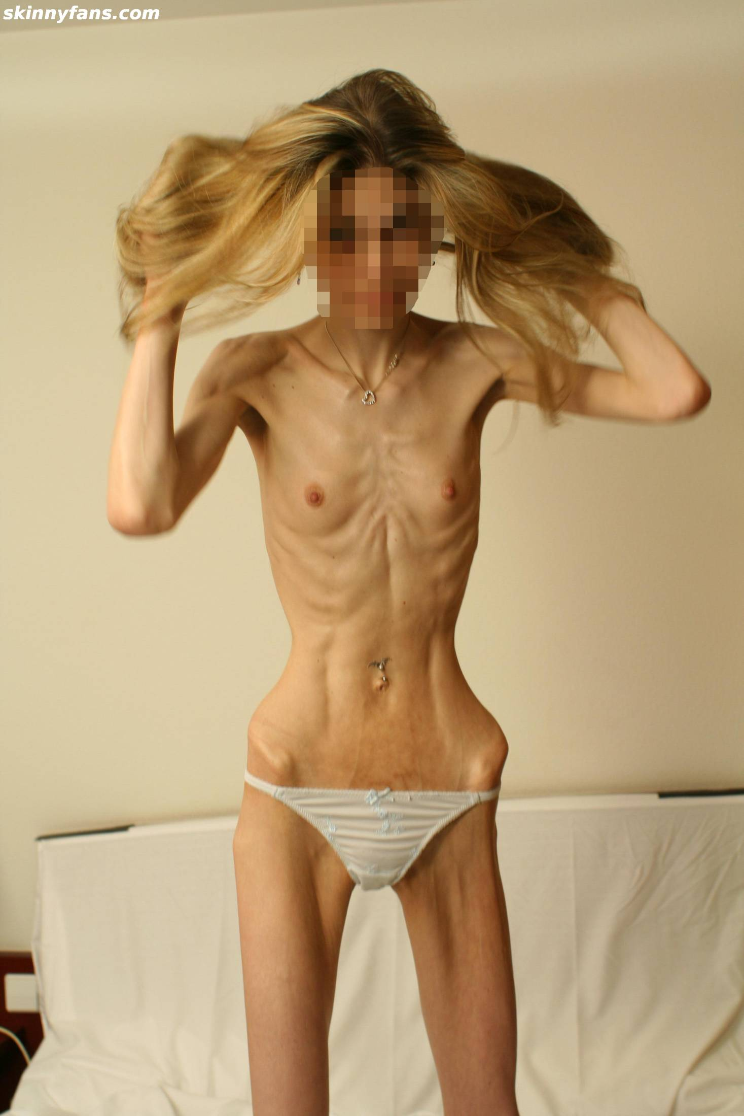 Anorexic Young Girl Exposes Her Small Breasts And Tiny Ass In The Shower