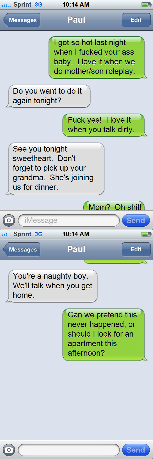 Text message routing error (Mother/Son)