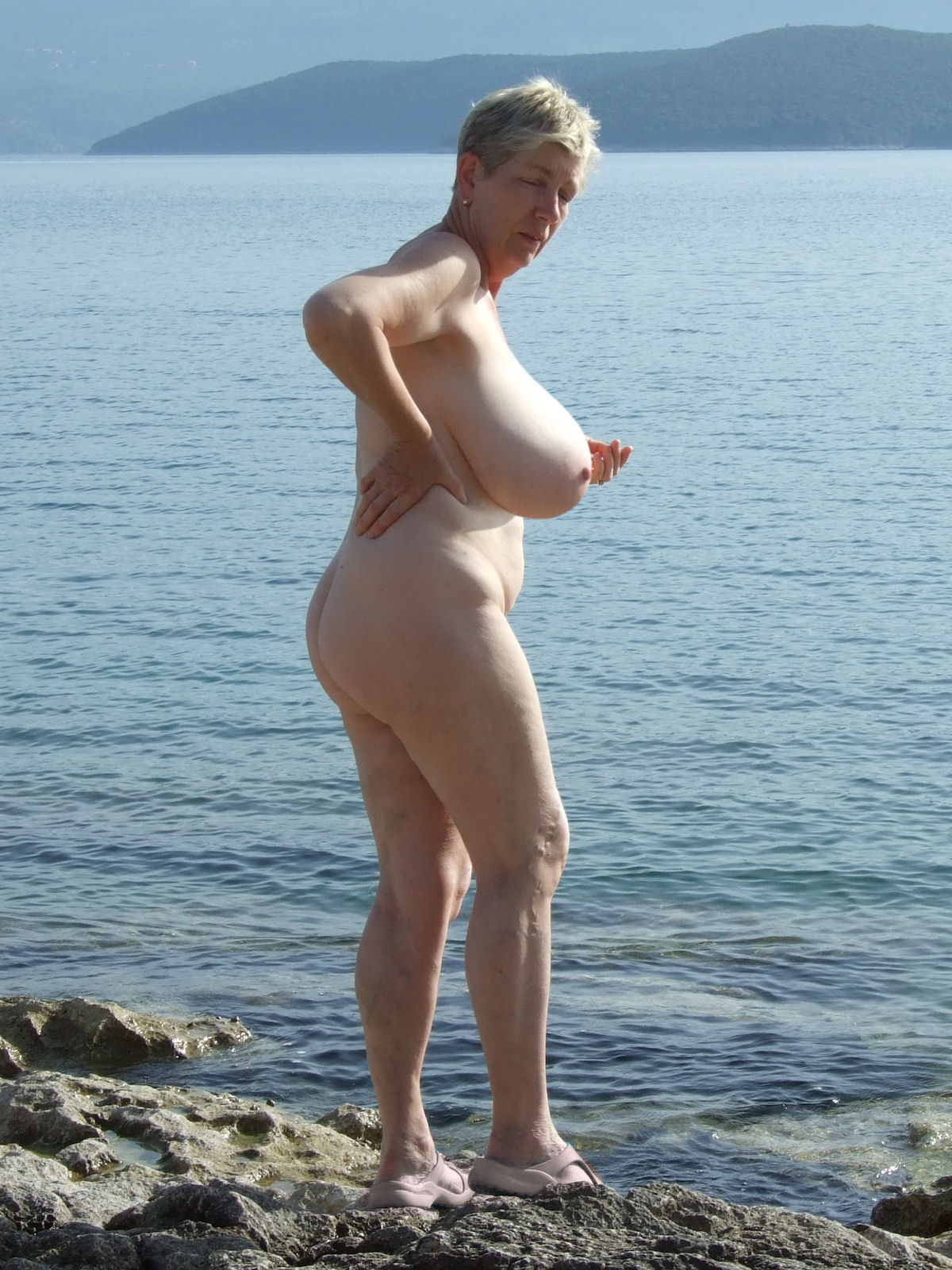 Simply granny grandma big boobs beach are not