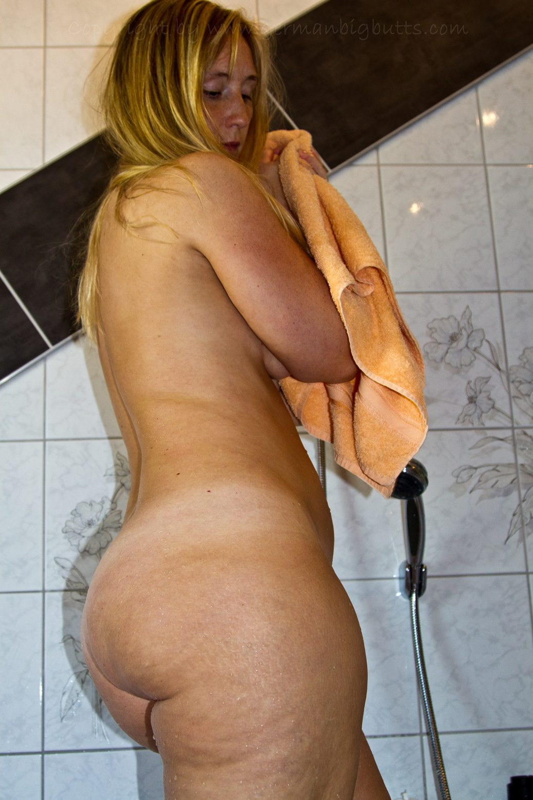 woman peeing while bent over
