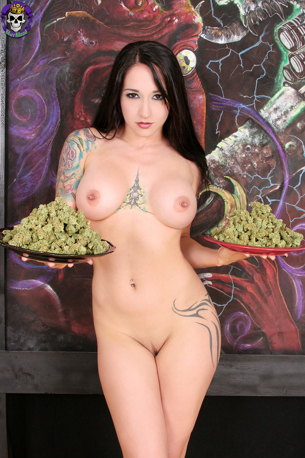 Hot chick naked and smoking weed accept