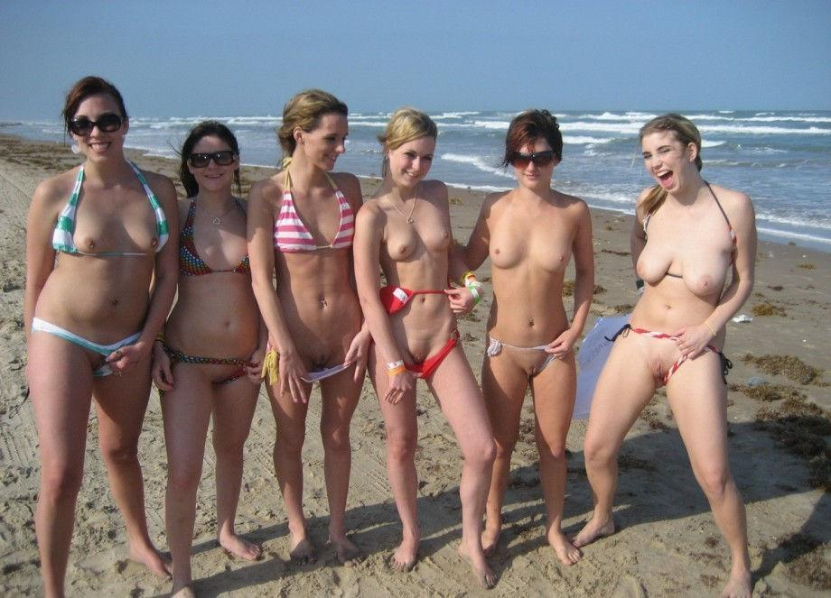 groups girls Spring break nude beach