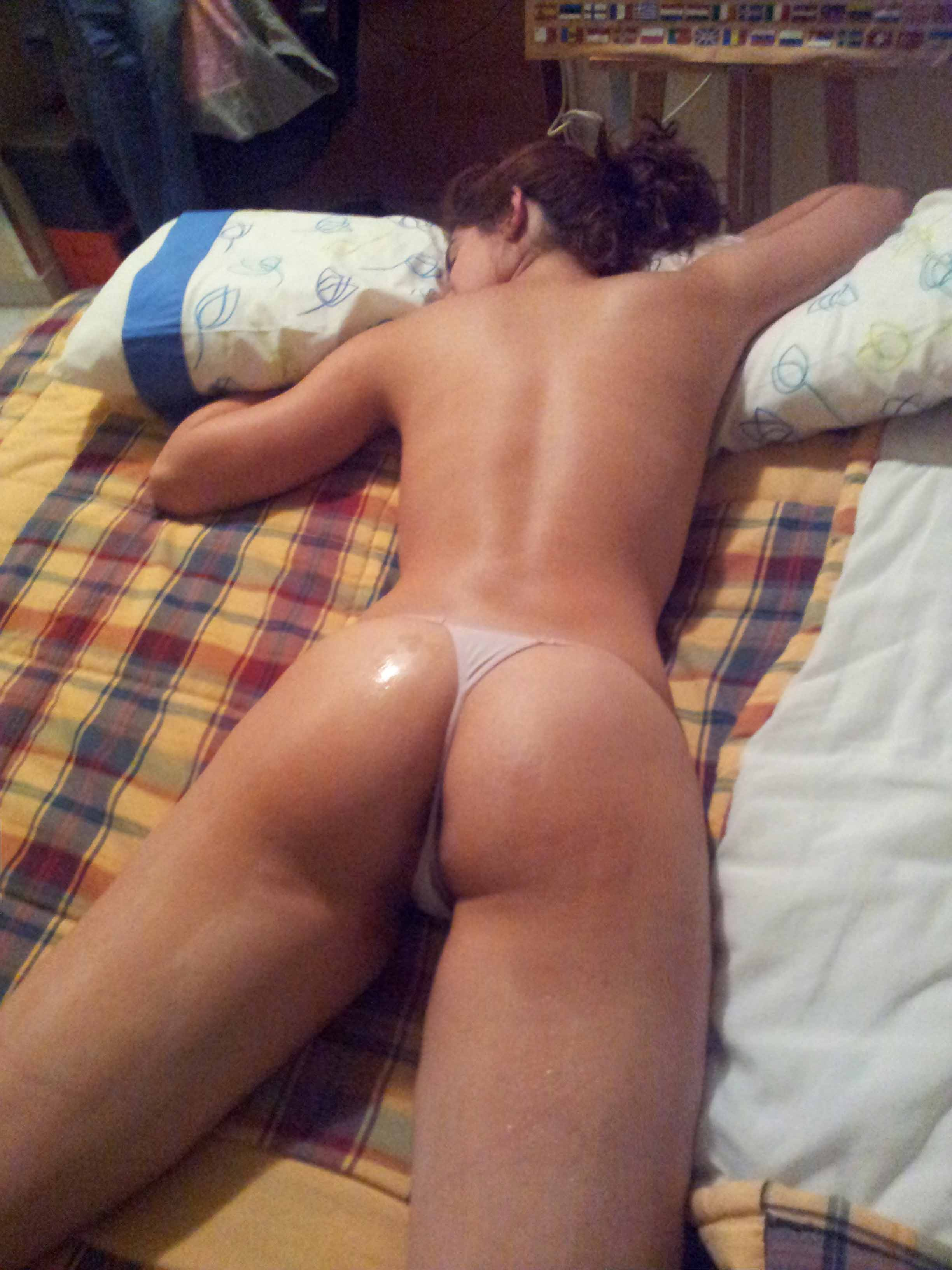 Teen topless in thong
