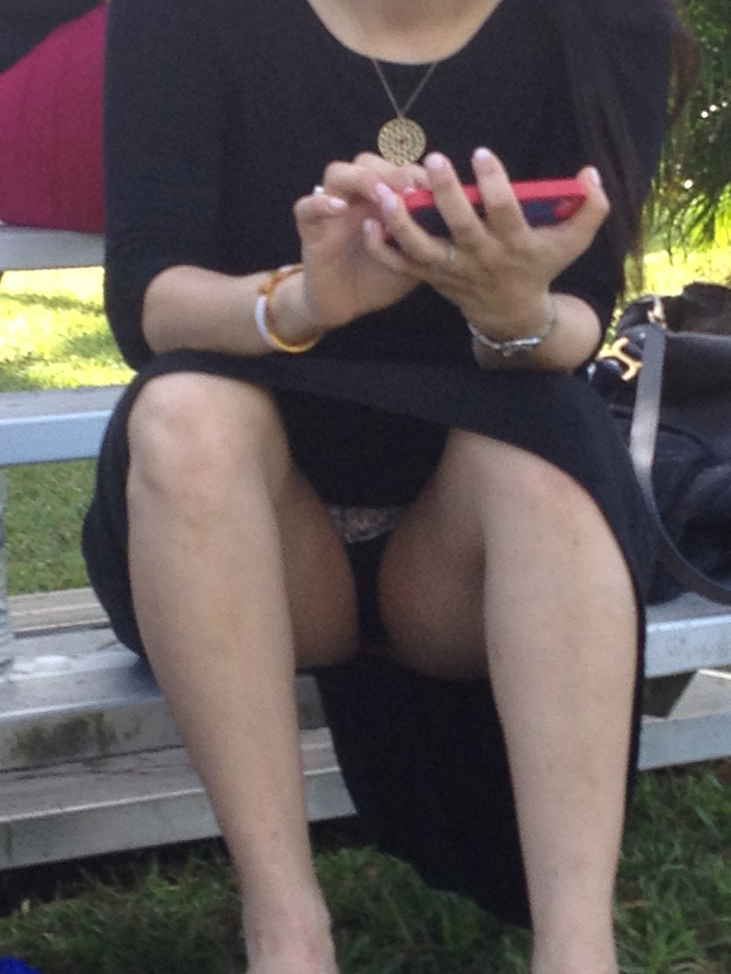 sitting candid Girl upskirt