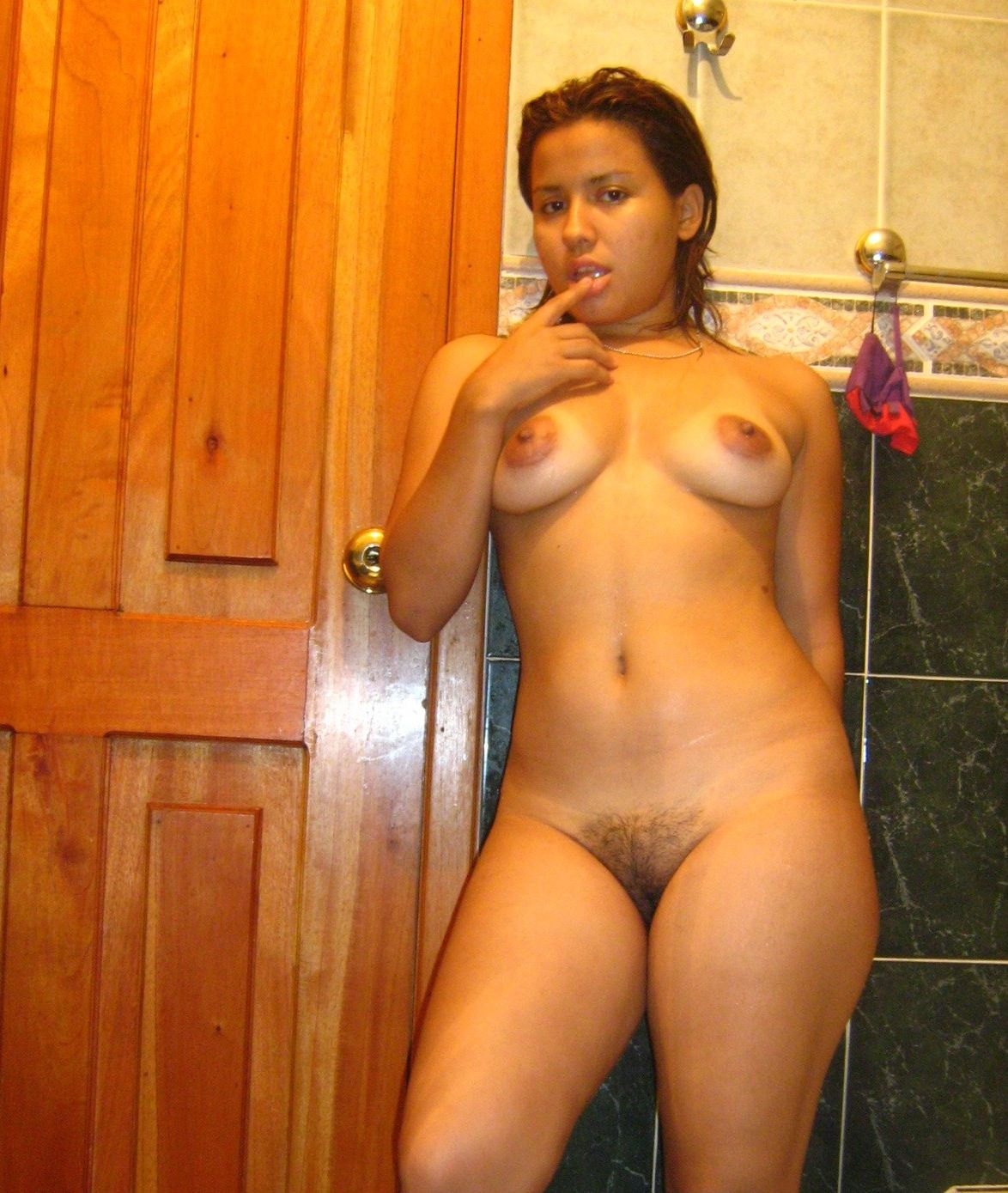 Nude mexican girl in shower