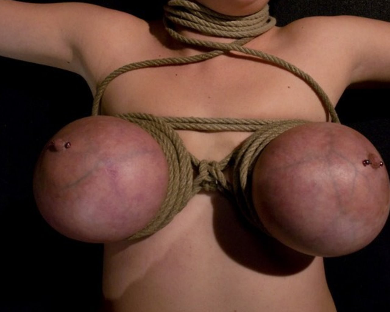Breasts tied blue