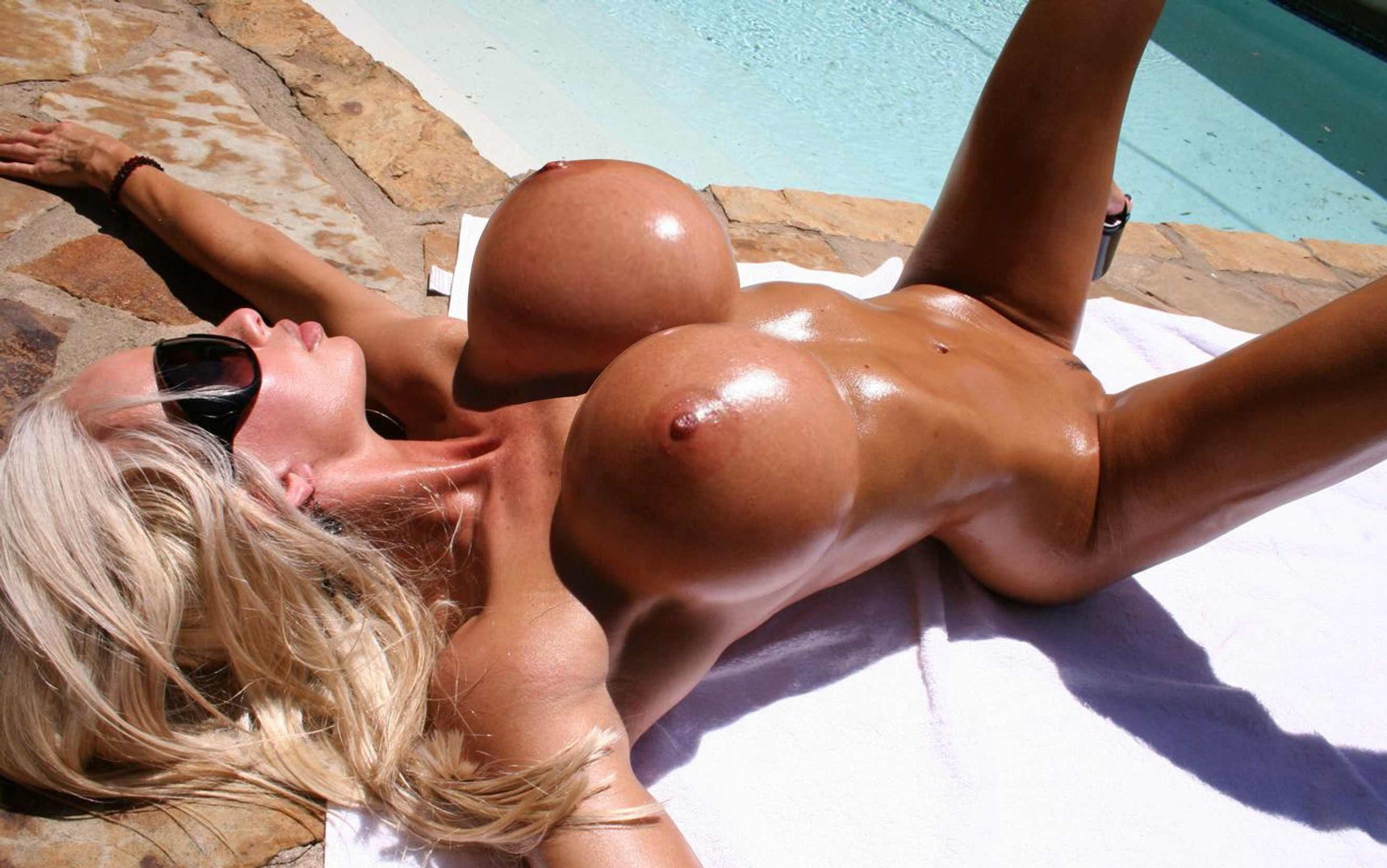 girls big up boobs oiled with Naked