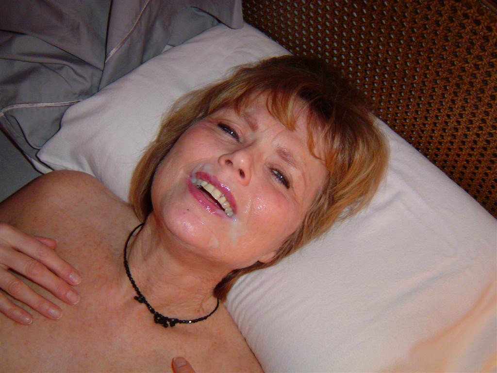 Cum covered face mature