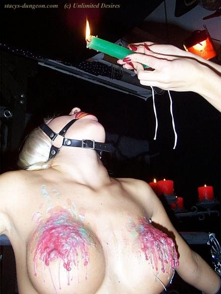 Tit torture with wax