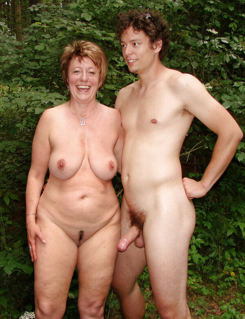 and nude outdoors mom son