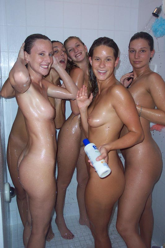 Naked girls group shower locker room