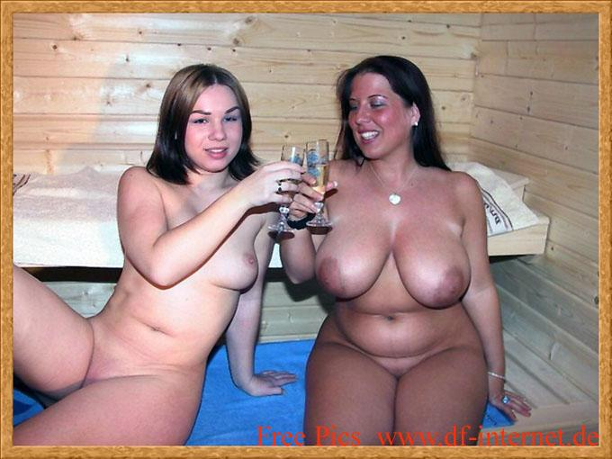 Nude women at party