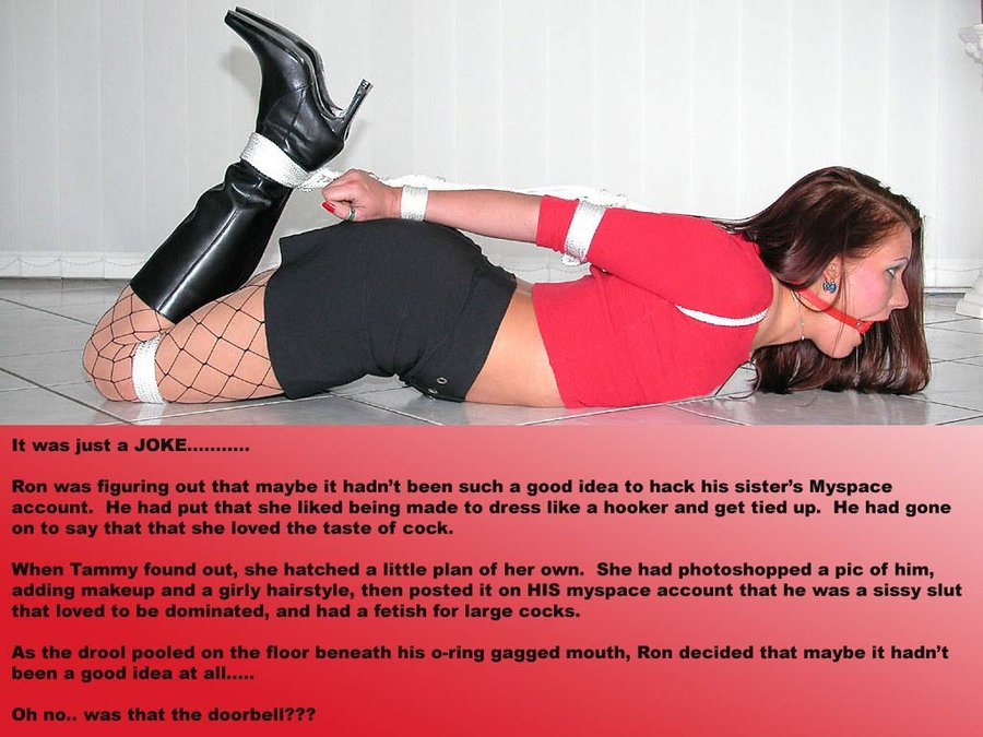 Sissy Captions Photo Bondage Caps T
