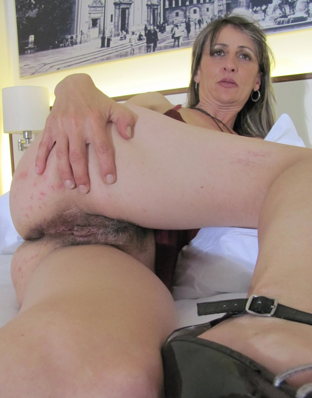 Mature in panties close up hairy pussy