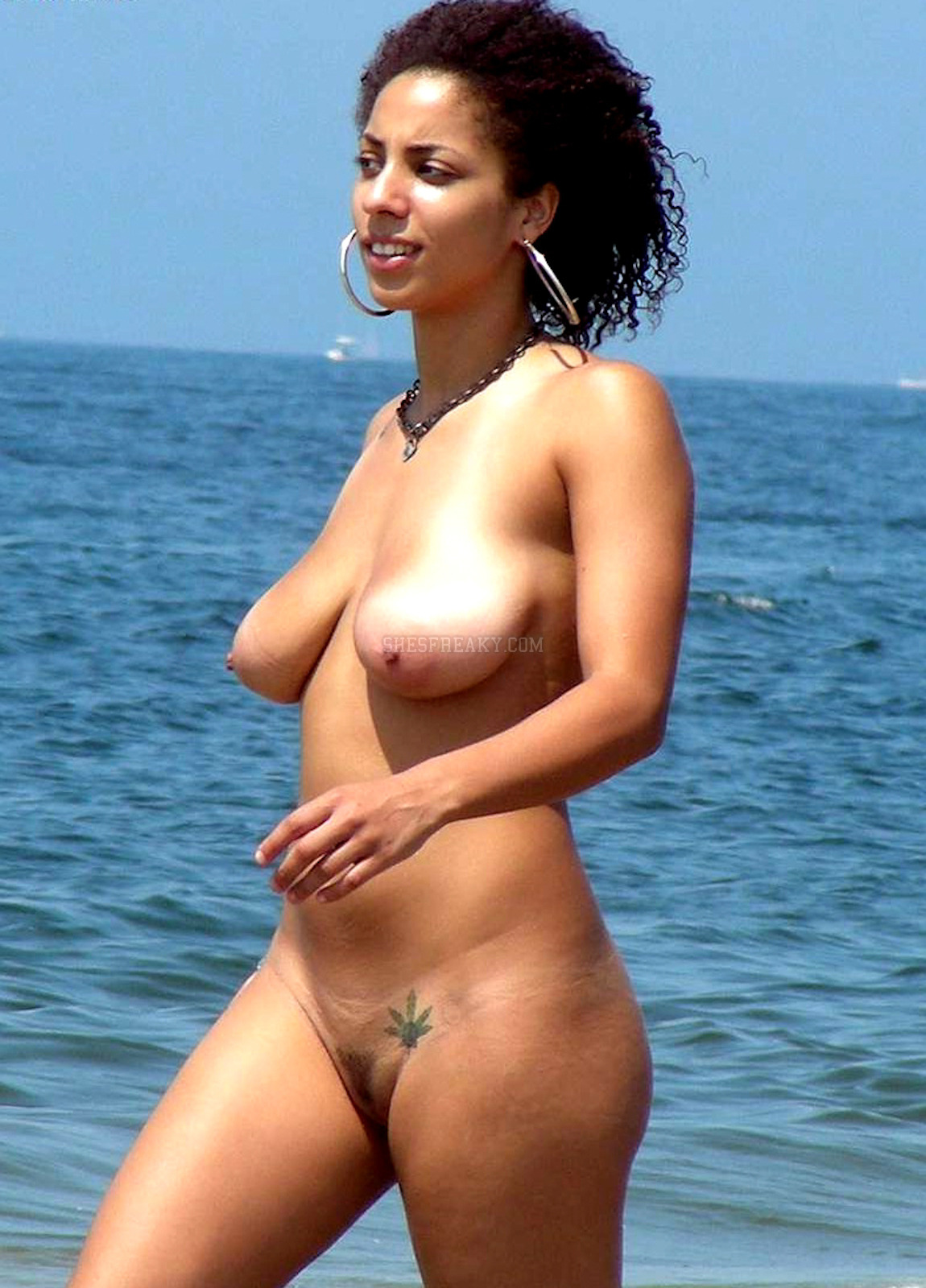 Beach Nude ebony on