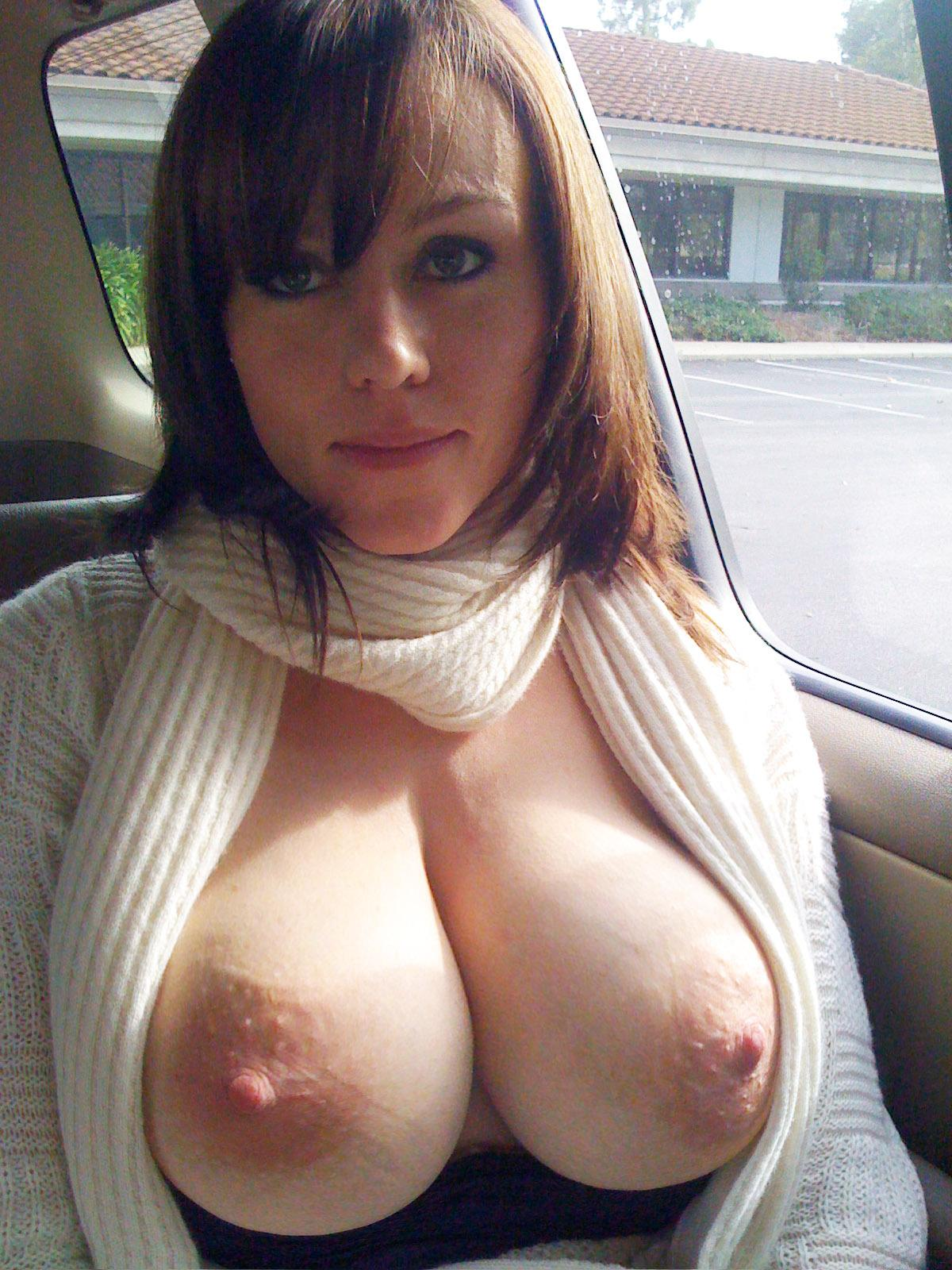 Milf selfie in car tit big