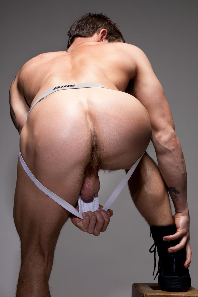 Naked men bent over