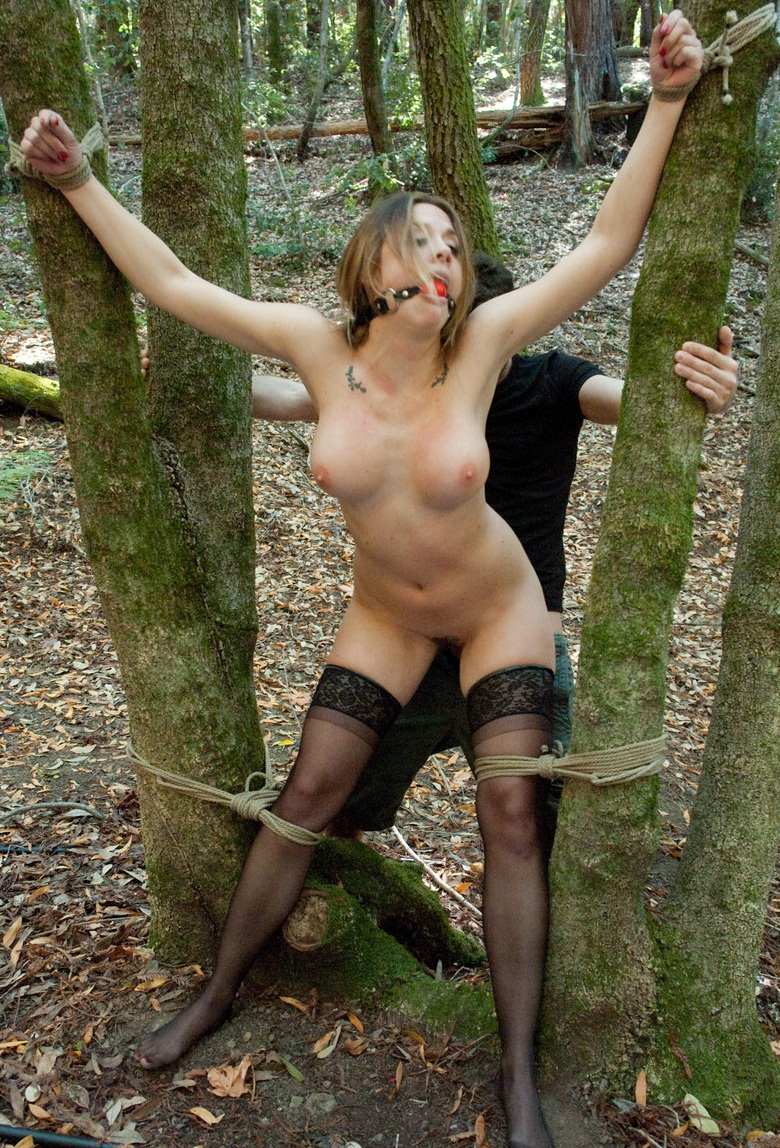 Naked slave in the forest porno image