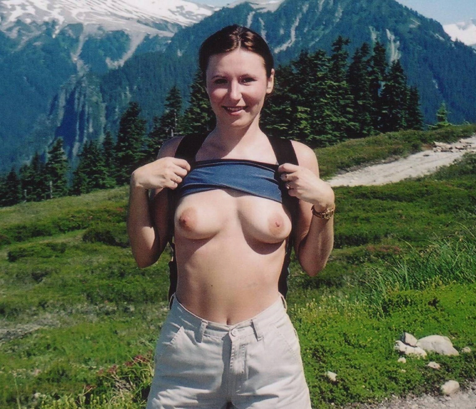 Really Cute Topless Teen Taking Cell Phone Pictures