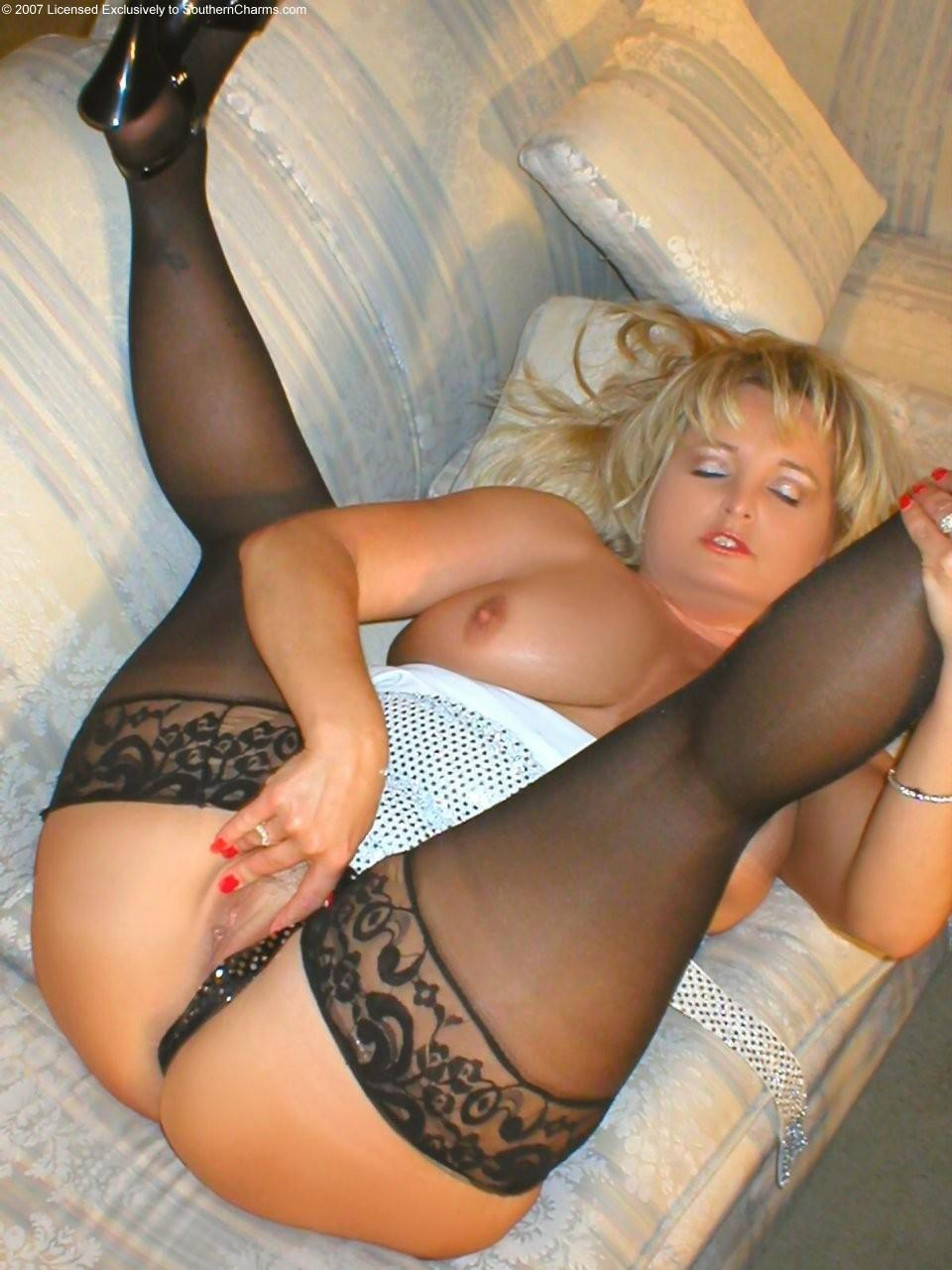 stockings Bbw blonde