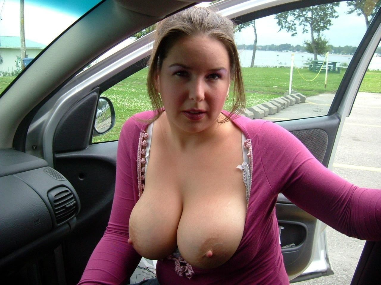 Milfs flashing in car
