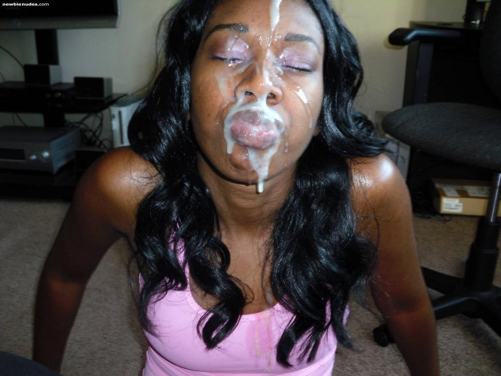 ebony amateur cum face Black