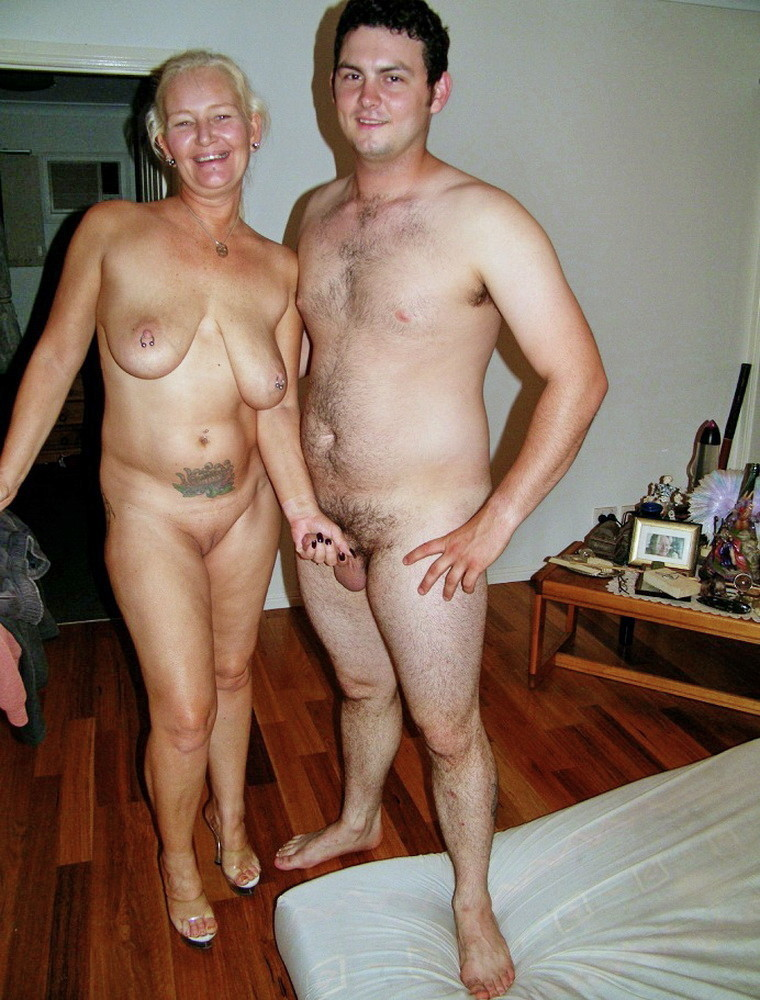Mother and son nudists