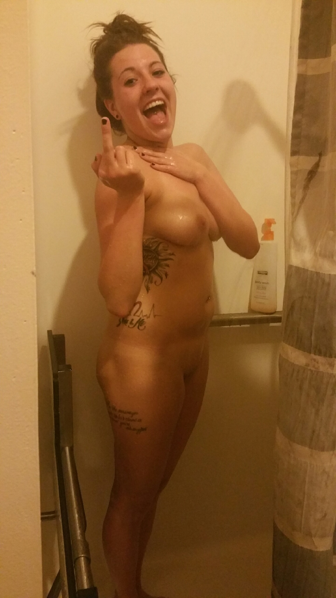 Something caught in shower and nude simply
