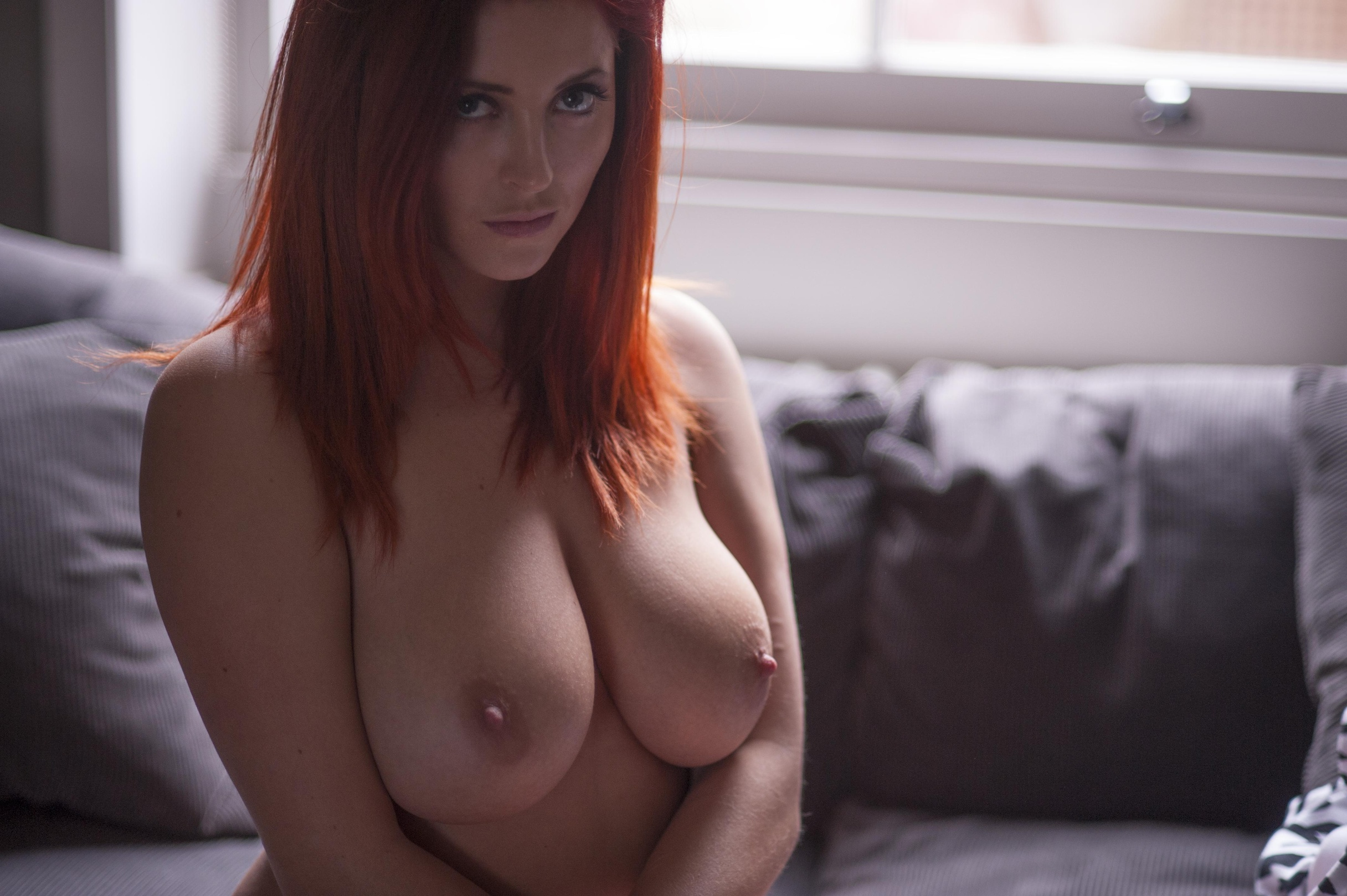 Busty redhead nude pics by bf in bed
