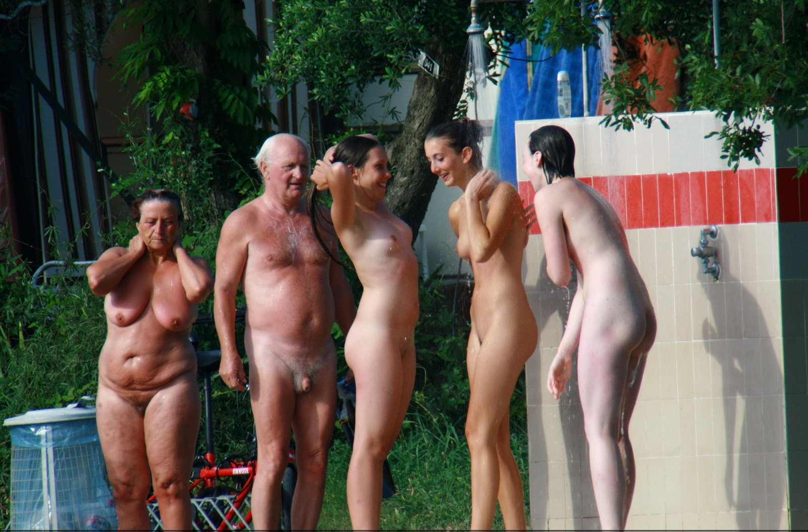 fun Nudist families having