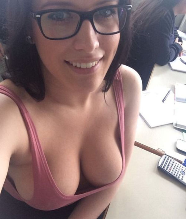 downblouse braless cleavage Busty