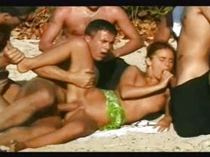 Gang bang in the beach
