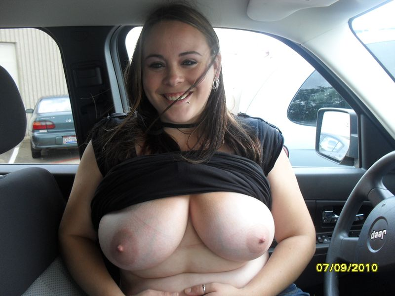 Accept. The Wife flashes tits in car nude
