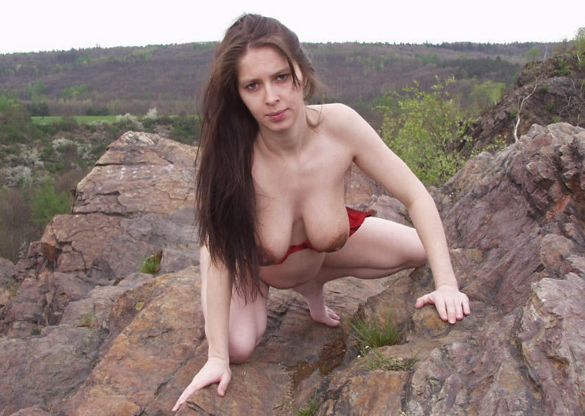 Outdoors nude moms