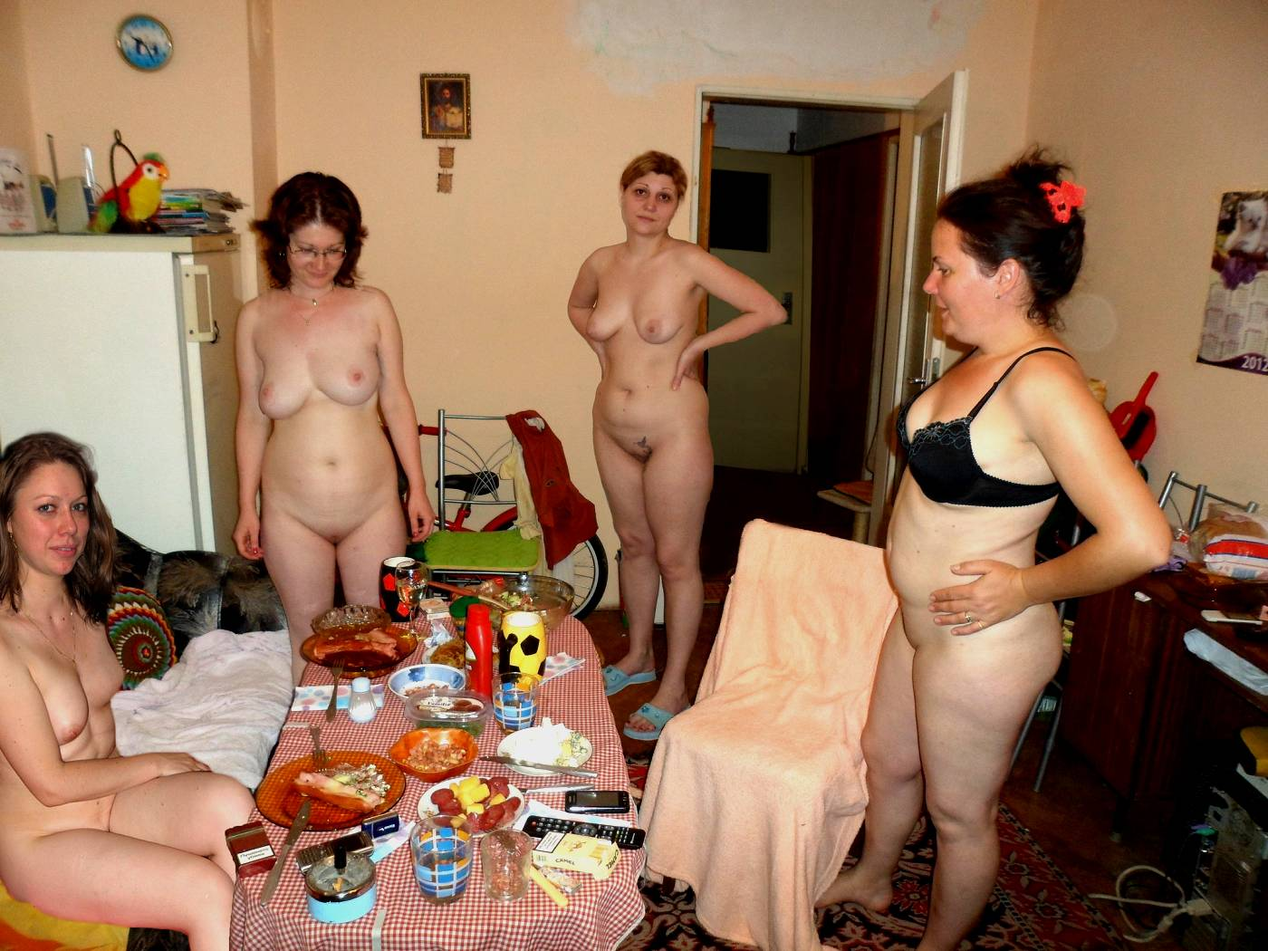 group of nude wives