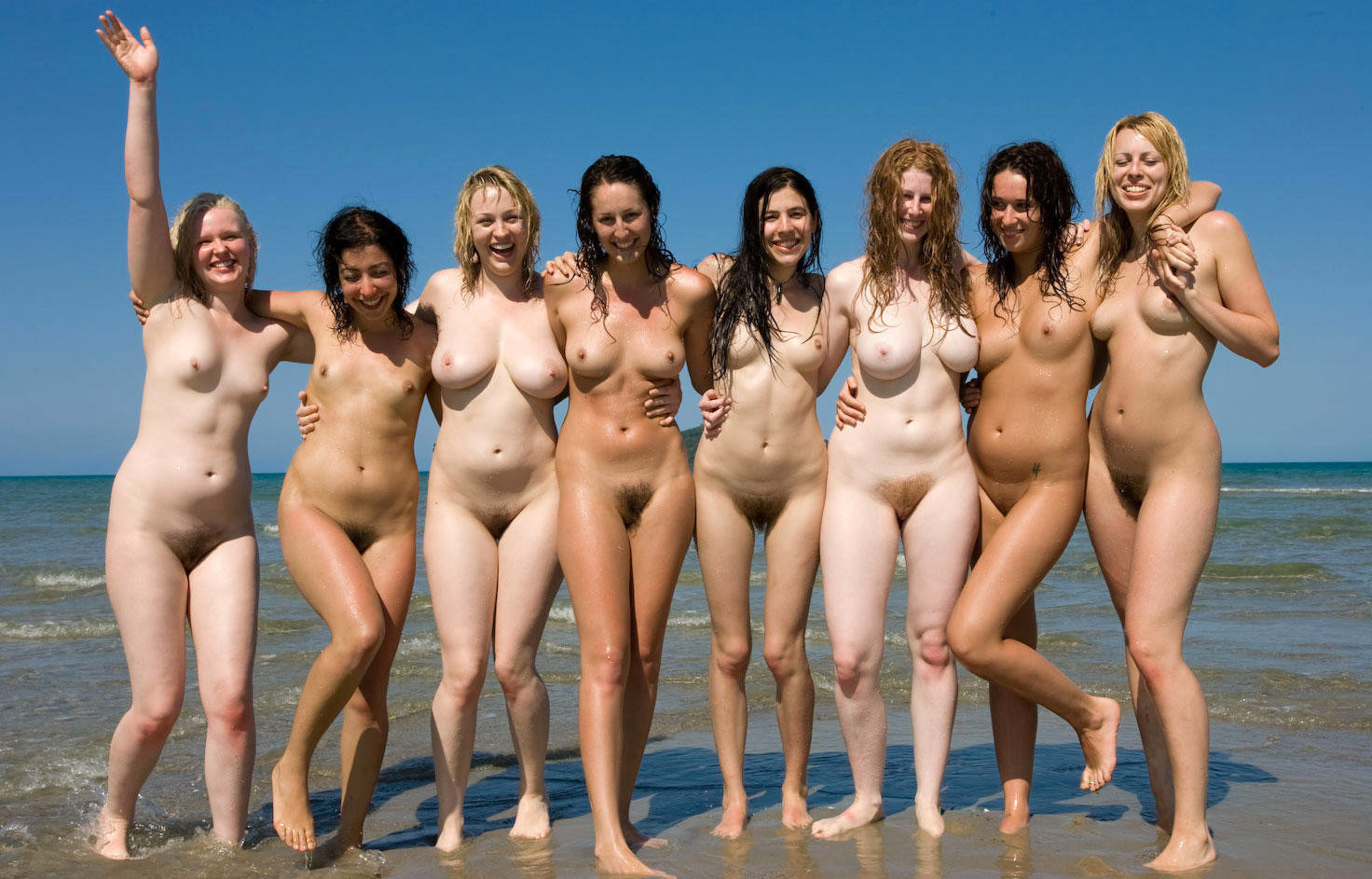 Naked girls in a group
