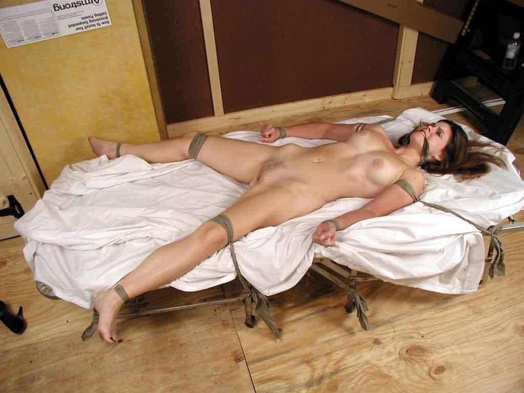 Up naked girls bed tied