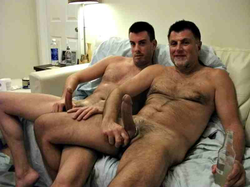 Father and son through masturbation