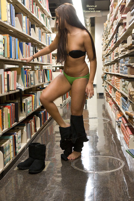 Girl public library naked