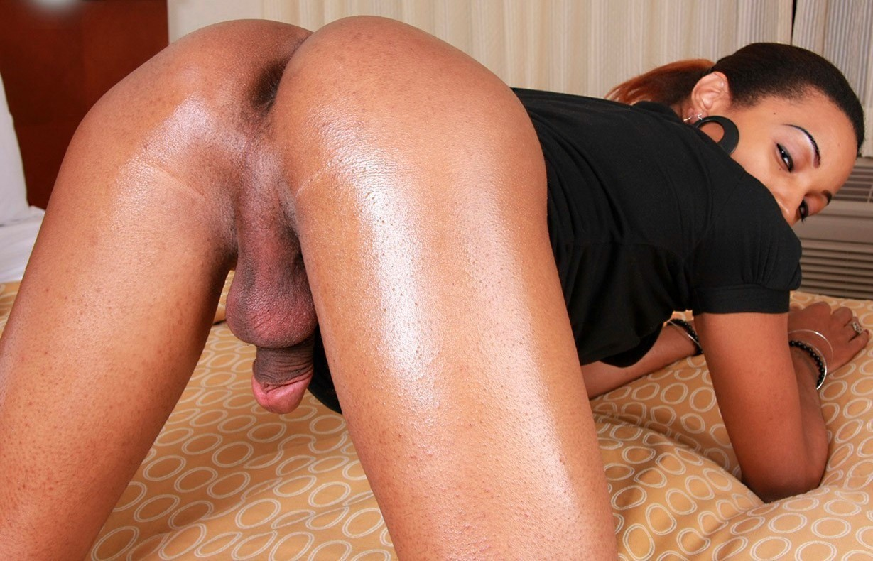 Hot black tranny slams this guys tight ass and forcefeeds him cock