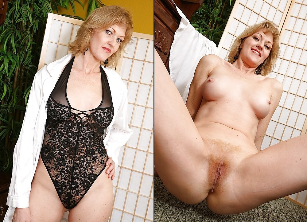 Big tits mature lady taking off her clothes and spreading pussy