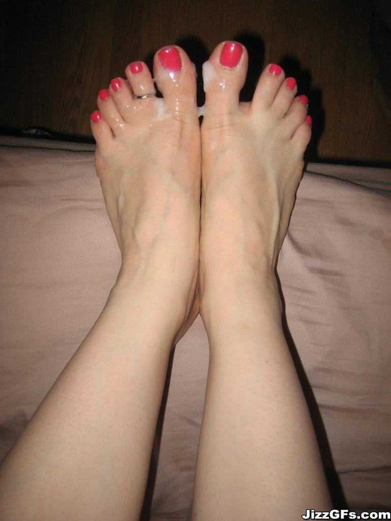 Cum covered toes