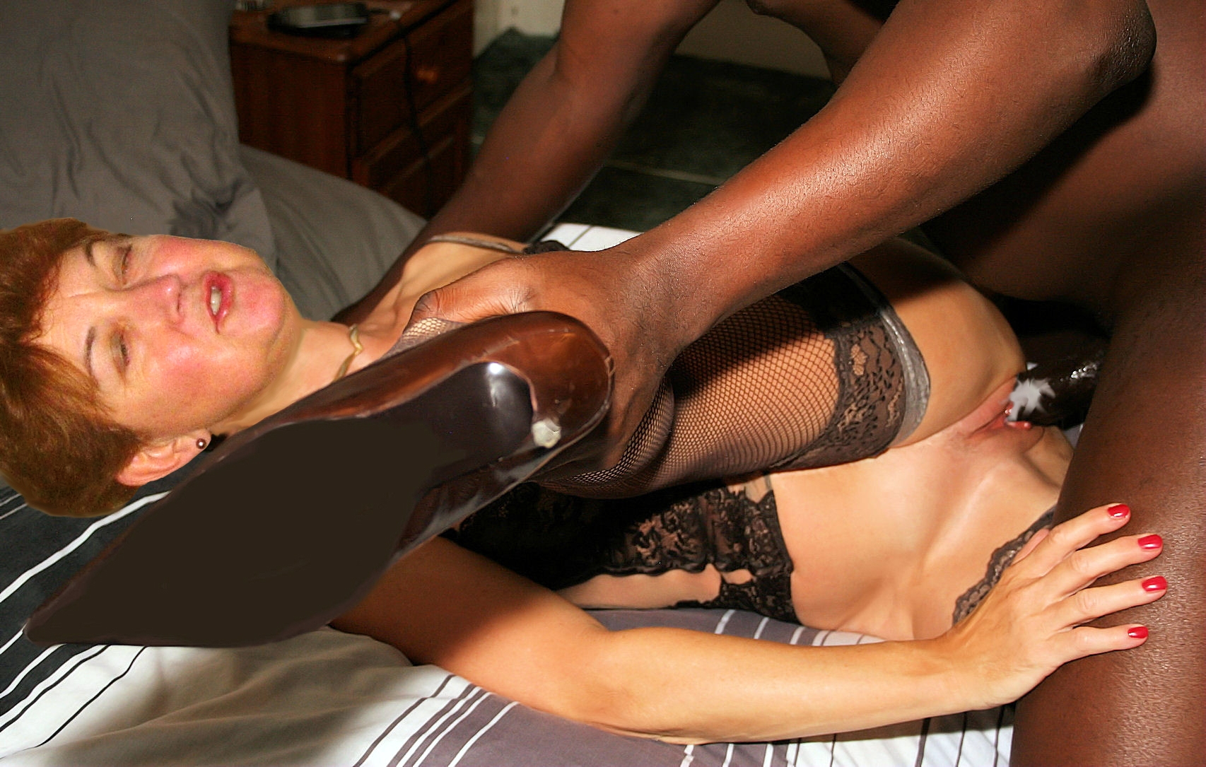 Wife filled with black cock