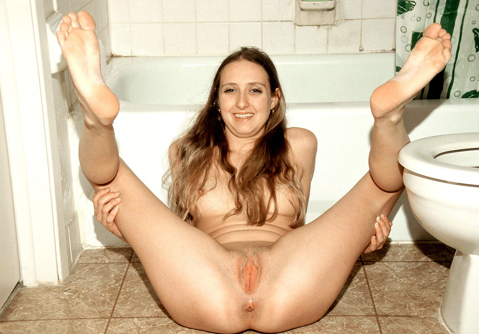 The naked spread eagle with feet