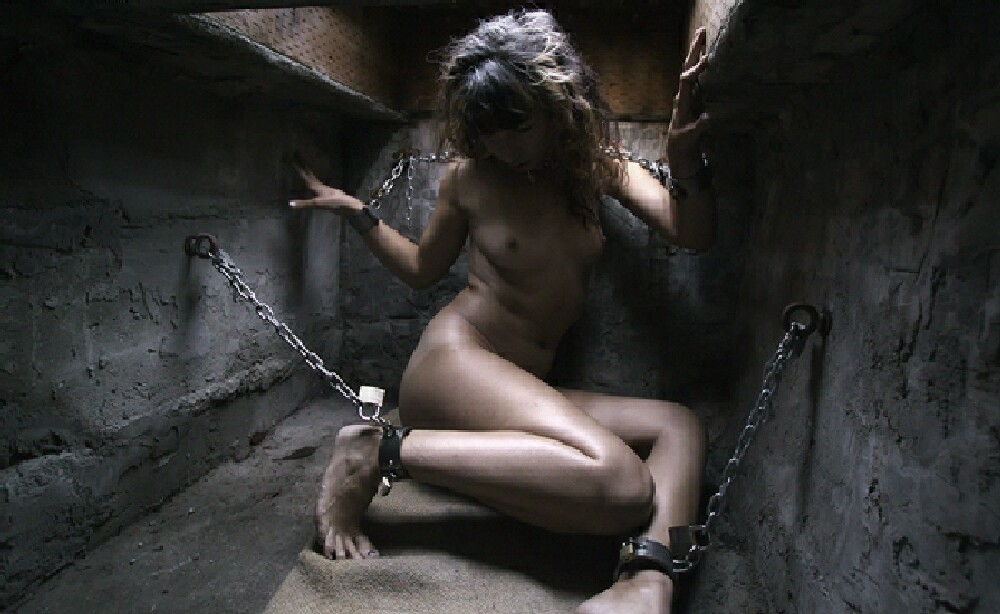 Naked bondage in chains