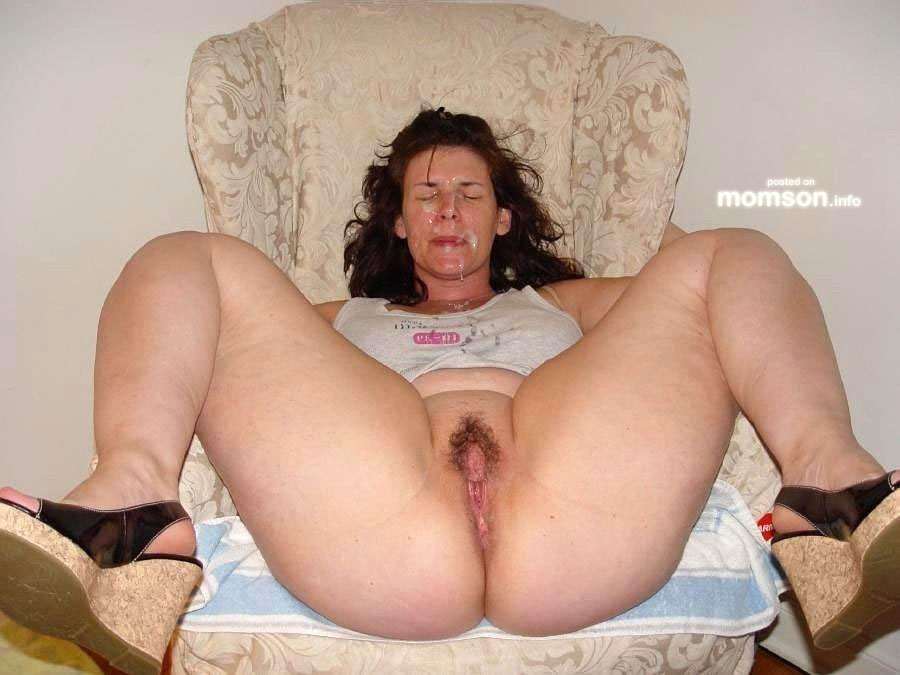 Cum On Spreading - bottomless mom spreading legs exposing vagina and cum on her face.jpg