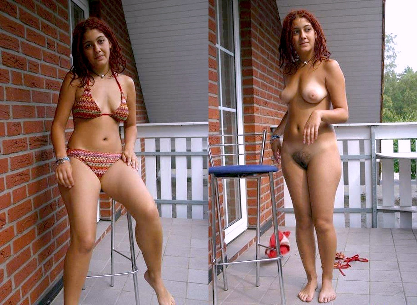 undressed and swimsuit dressed Amateur