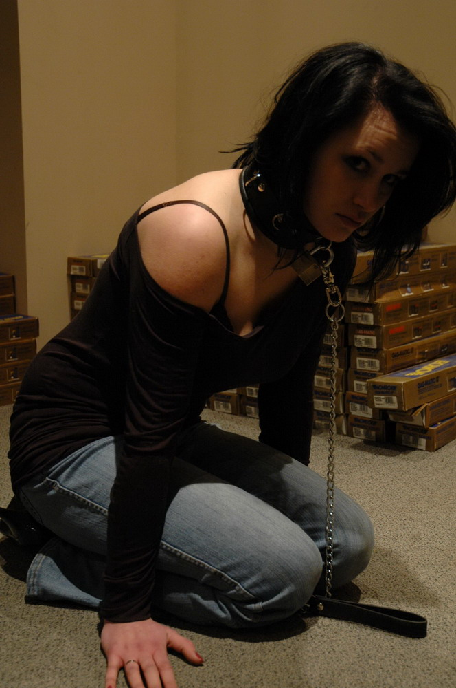Leashed slave training collared