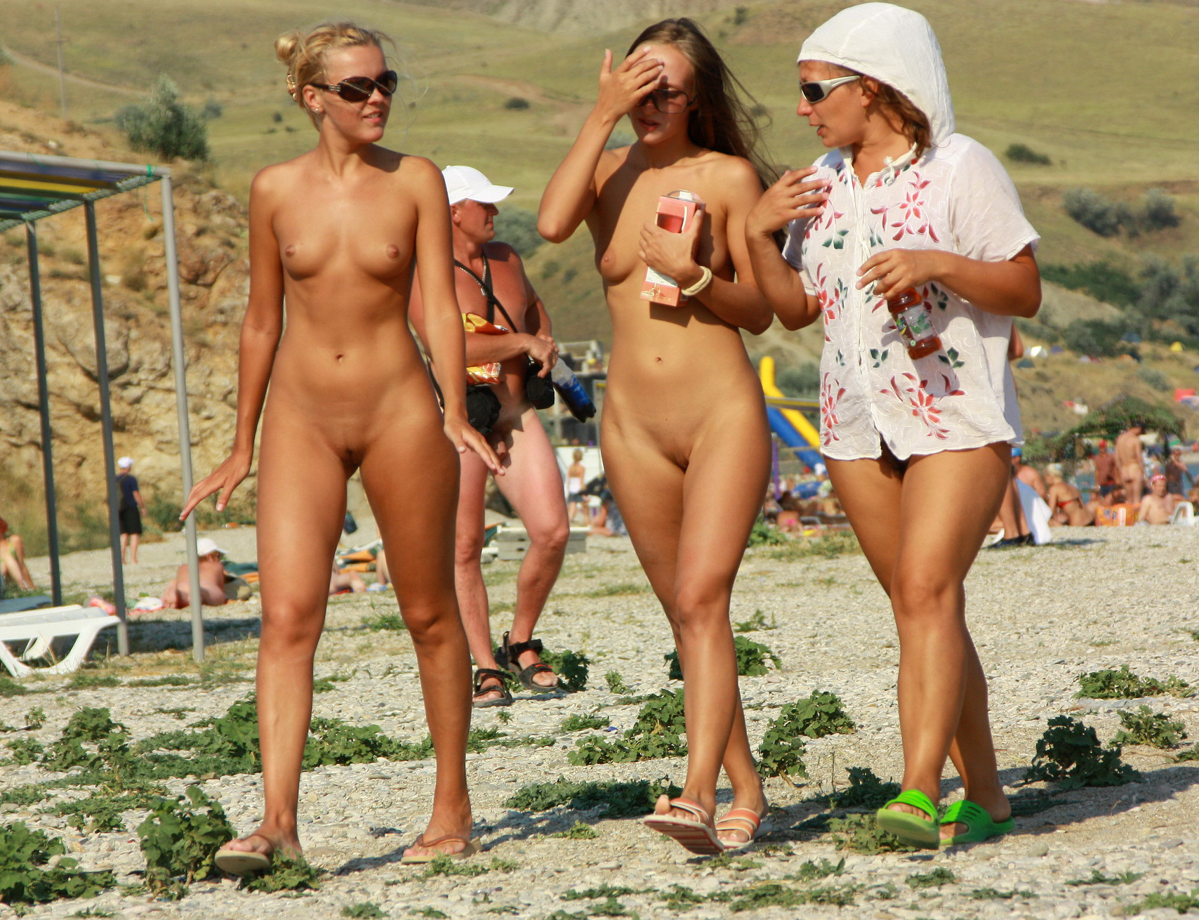 Topless beach group bikini girls